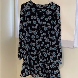 Express Dress Floral Shift Long Sleeved Small